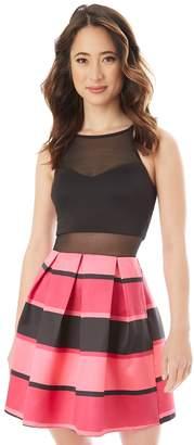 Iz Byer Juniors' Illusion Striped Fit & Flare Dress