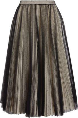 Philosophy di Lorenzo Serafini Pleated Point D'esprit Tulle Skirt - Black