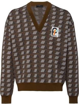 Prada jacquard v-neck sweater