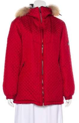 Post Card Fur-Trimmed Quilted Jacket