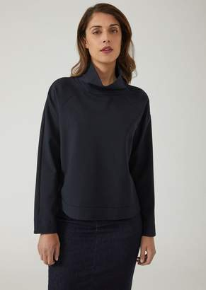 Emporio Armani Sweatshirt With Wide Funnel Neck And Raglan Sleeves