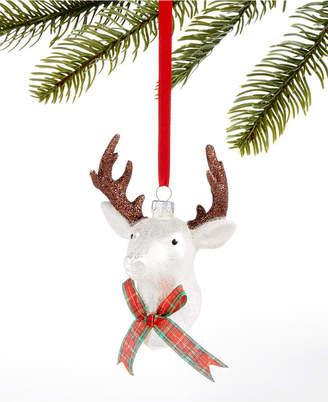 Holiday Lane Christmas Cheer Glass Stag Head with Plaid Bow Tie Ornament