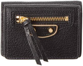 Balenciaga Classic Gold Edge Mini Leather Wallet