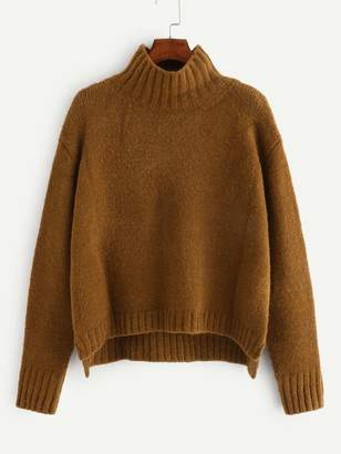 Shein Solid Stepped Hem Sweater
