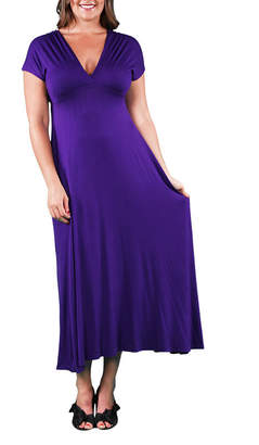 24/7 Comfort Apparel Empire Waist Maxi Dress-Plus