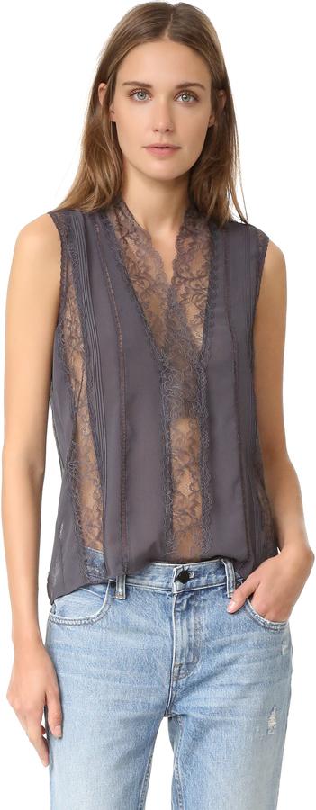 alice + olivia Peta Sheer Lace Sleeveless Top