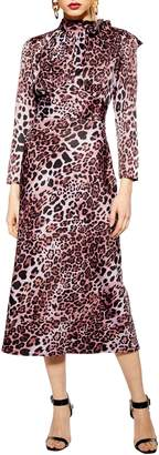 Topshop Leopard Bias Tie Neck Midi Dress