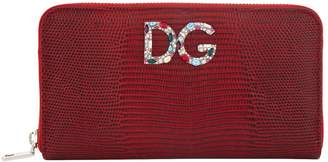 Dolce & Gabbana Leather Embellished Zip Around Wallet
