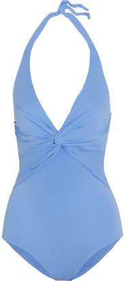 Melissa Odabash - Zanzibar Knotted Halterneck Swimsuit - Azure $230 thestylecure.com