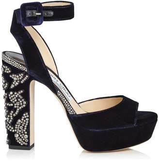 Jimmy Choo JULIET 120 Navy Velvet Platform Sandals with Peony Crystal Embroidery