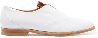 Neville Feather-trimmed Glossed-leather Brogues - White
