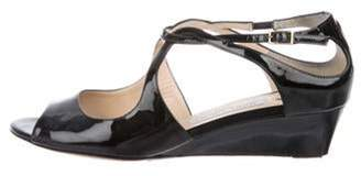 Jimmy Choo Patent Leather Low-Heel Sandals Black Patent Leather Low-Heel Sandals