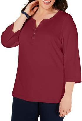 Karen Scott Plus Quarter-Sleeve Henley Cotton Top