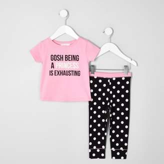 River Island Mini girls pink 'princess' print pyjama set