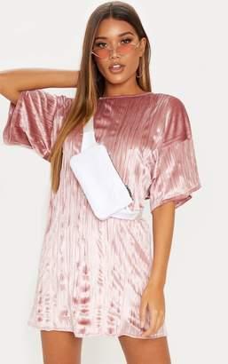 PrettyLittleThing Dusty Pink Velvet Rib Oversized T Shirt Dress