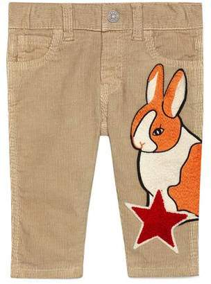 Gucci Baby corduroy pant with rabbit