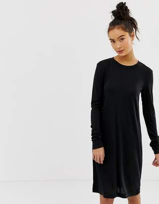 Weekday Column Dress with long sleeves in black