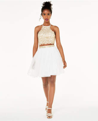 Sequin Hearts Juniors' 2-Pc. Chain-Lace Fit & Flare Dress
