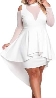 Lacoco Plus Size Mesh Trim Hi-Lo Peplum Bodycon Dress