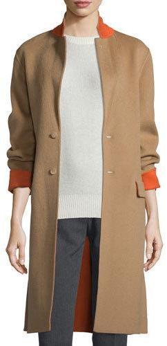 JOSEPHJoseph Double-Face Wool-Blend Coat, Camel/Tangerine