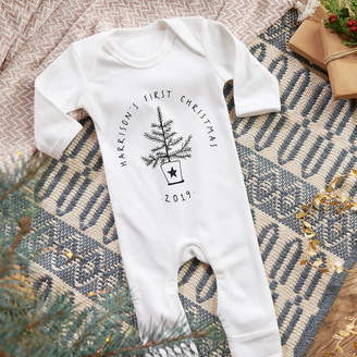 Owl & Otter Personalised Baby's First Christmas Sleepsuit