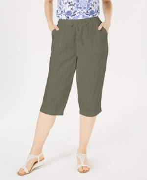 Karen Scott Petite Cotton Eyelet Chino Skimmer Shorts, Created for Macy's
