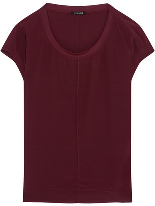 Splendid - Luxe Stretch Modal-trimmed Washed-silk Top - Merlot $180 thestylecure.com