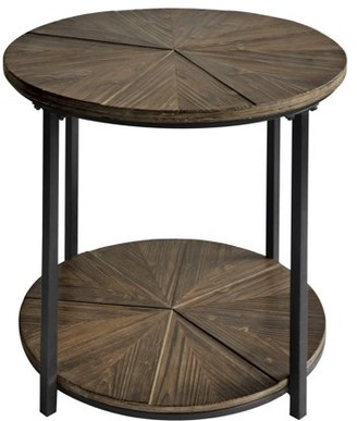 Crestview Collection Jackson Round Metal and Rustic Wood End Table