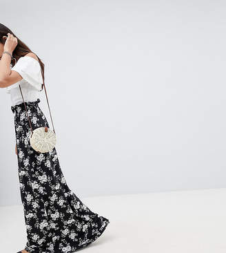 ASOS Tall ASOS TALL Maxi Skirt with Paperbag Waist in Mono Floral Print