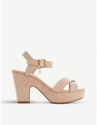 Dune Ilya cross vamp suede heeled sandals