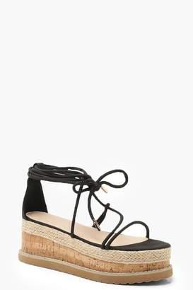 boohoo Skinny Strap Flatform Sandals