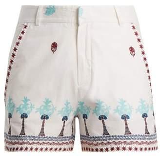 Le Sirenuse Le sirenuse, positano Le Sirenuse, Positano - Palm Border Print Cotton Shorts - Womens - Blue Multi