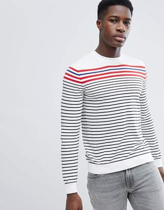 Benetton Striped Crew Neck Knit Sweater 100% Cotton