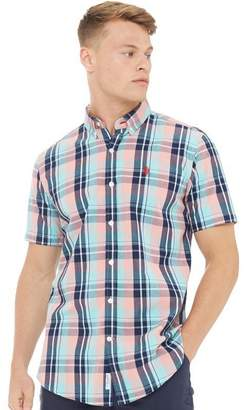 U.S. Polo Assn. Mens Short Sleeved Check Shirt Beach Grass