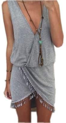 Rusinll-Placte NEW Summer Beach Dress Women Tunic Tassel Cover-Up Bikini Cover Up L