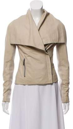 Vince Leather Knit-Trim Jacket