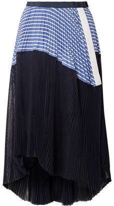 Sacai Piqué And Organza-trimmed Striped Cotton-poplin Skirt - Navy