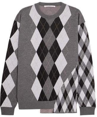 Argyle Wool Sweater - Light gray