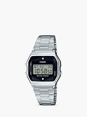 Casio A158WEAD-1EF Women's Core Bracelet Strap Watch, Silver/Black