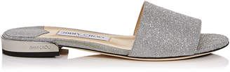 Jimmy Choo JONI FLAT Silver Fine Glitter Leather Slides