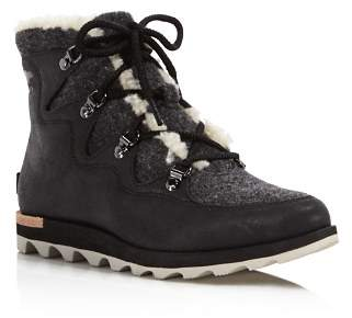 Sorel Women's Sneakchic Alpine Shearling and Leather Lace Up Booties - 100% Exclusive