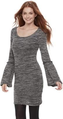 Juniors' Liberty Love Marled Bell Sleeve Bodycon Dress
