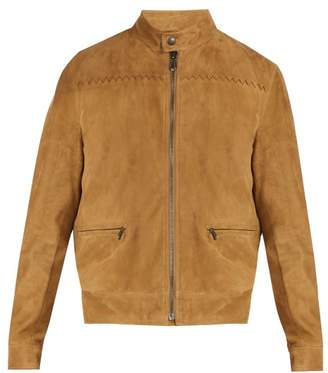 Bottega Veneta Intrecciato Detailed Suede Jacket - Mens - Light Brown