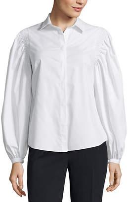 WORTHINGTON Worthington Smocked Shoulder Button Front Shirt