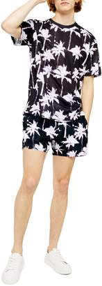 Topman Tech Palm Print Swim Trunks