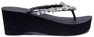 Uzurii 'Jenny High Heel' crystal wedge thong sandals