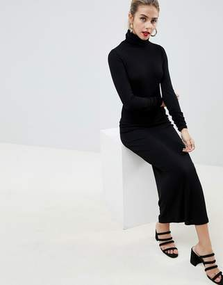 Asos DESIGN high neck rib maxi dress with long sleeves