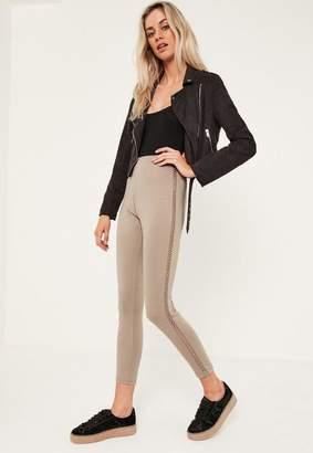 Missguided Nude Lattice Side Ponte Leggings