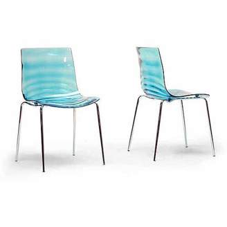 clear Wholesale Interiors Marisse Plastic Modern Dining Chair, Set of 2, Blue