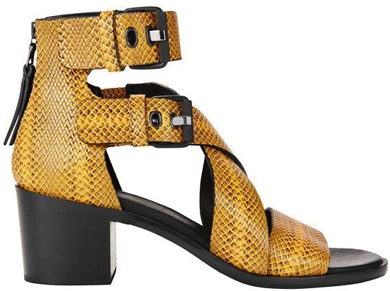 Rag & Bone Madrid Python Print Leather Stack Heel Sandal: Yellow
